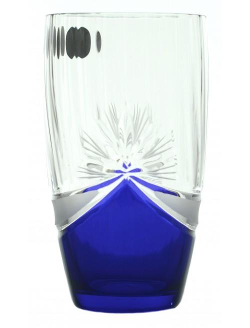 Pohárszett 6x, áttetsző üveg színű - ólommentes, kék dekor, űrmértéke 350 ml