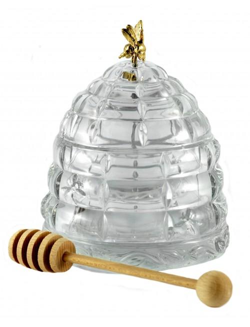 Kristály méztartó edény, áttetsző kristály színű, átmérője 118 mm