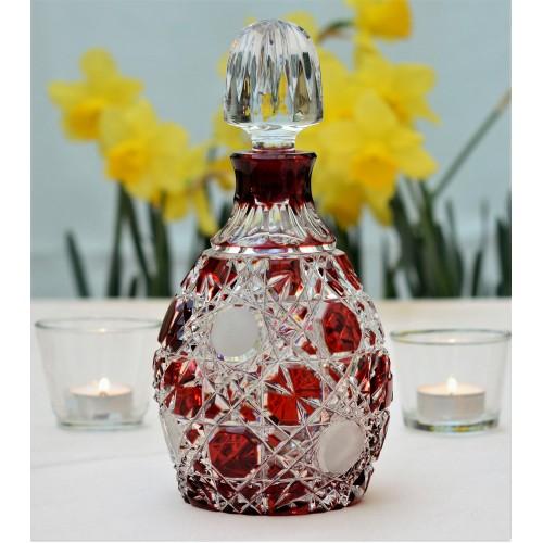 Flake kristály díszüveg, rubinvörös színű, űrmértéke 700 ml