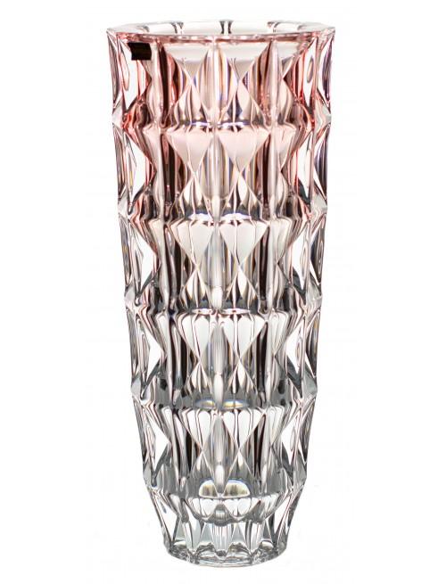 Diamond váza, ólommentes krisztallit, rózsaszínű, magassága 330 mm