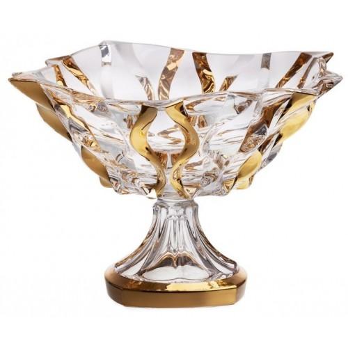 Samba arany dísztál, ólommentes krisztallit, átmérője 305 mm