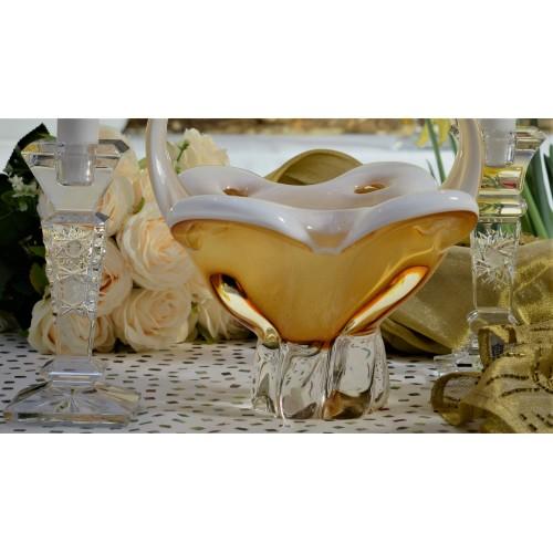 Üvegfúvással készült kosar, borostyán színű, magassága 340 mm