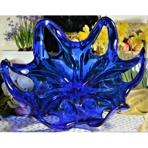 Üvegfúvással készült tál, kék színű, átmérője 400 mm