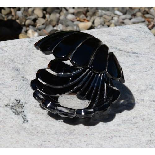 Kristálykagyló, fekete színű, magassága 140 mm