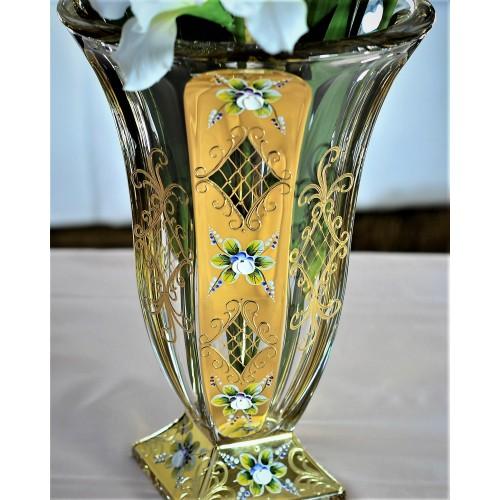Arany váza, ólommentes krisztallit, magassága 360 mm