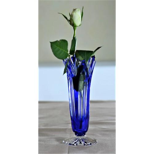 Lotos kristályváza, kék színű, magassága 175 mm