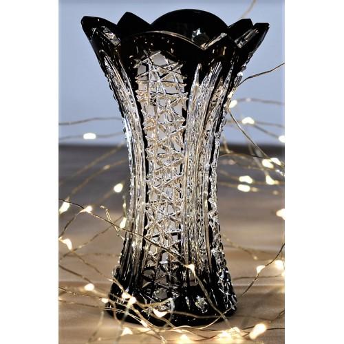 Frigus kristályváza, fekete színű, magassága 155 mm