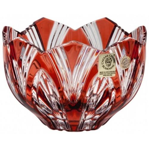 Lótusz kristálytálka, rubinvörös színű, átmérője 110 mm