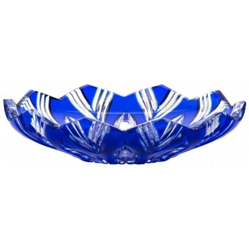 Lótusz kristálytányér, kék színű, átmérője 145 mm