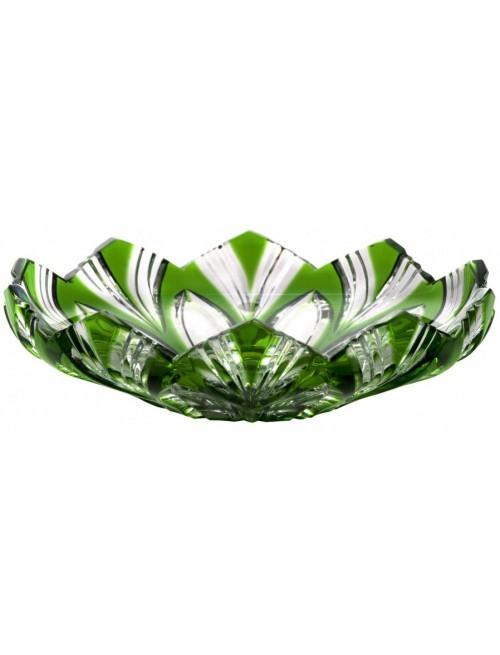 Lotos kristálytányér, zöld színű, átmérője 145 mm