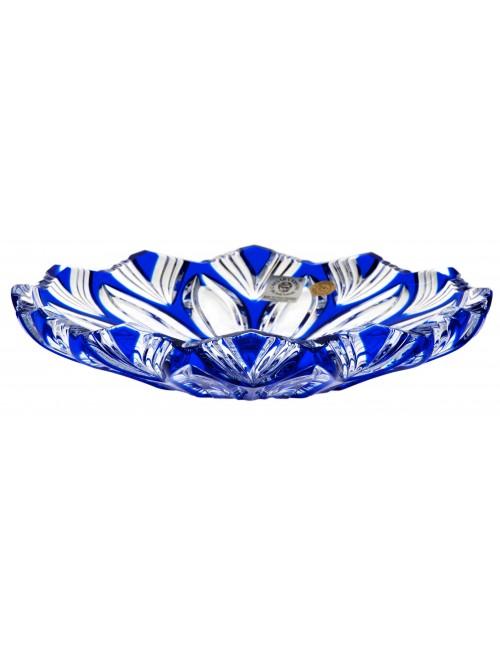Lotos kristálytányér, kék színű, átmérője 180 mm