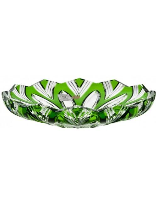 Lotos kristálytányér, zöld színű, átmérője 180 mm