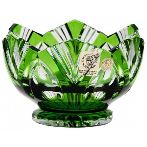 Lótusz kristálytálka, zöld színű, átmérője 104 mm