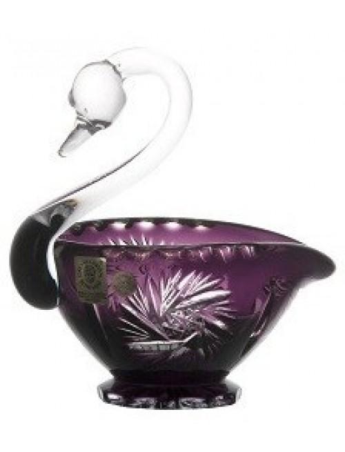 Pinwheel kristály hattyú, lila színű, átmérője 114 mm
