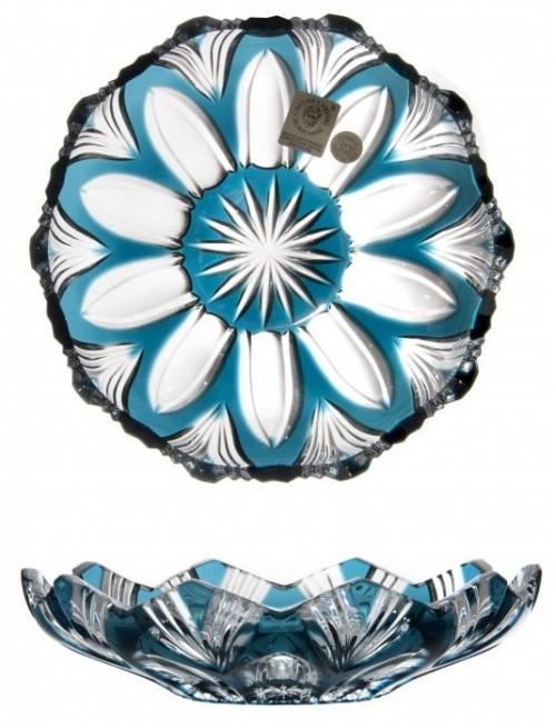 Lótusz kristálytányér, azúr színű, átmérője 145 mm