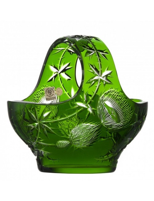 Thistle kristálykosár, zöld színű, átmérője 200 mm