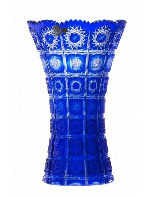 Paula II kristályváza, kék színű, magassága 205 mm