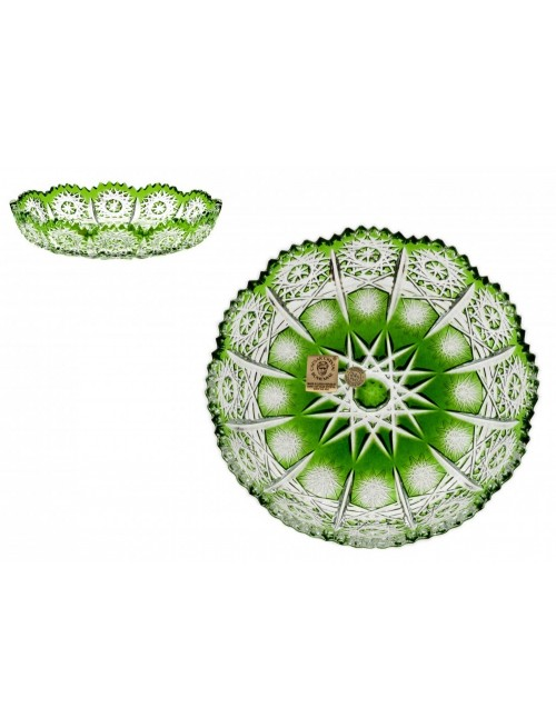 Paula kristálytányér, zöld színű, átmérője 146 mm