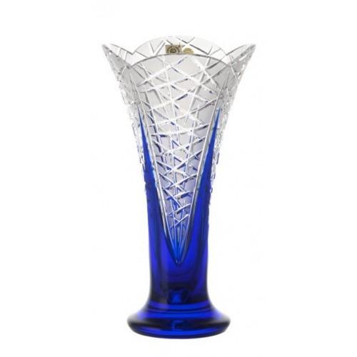 Flowerbud kristályváza, kék színű, magassága 255 mm