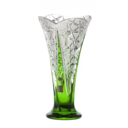 Flowerbud kristályváza, zöld színű, magassága 255 mm