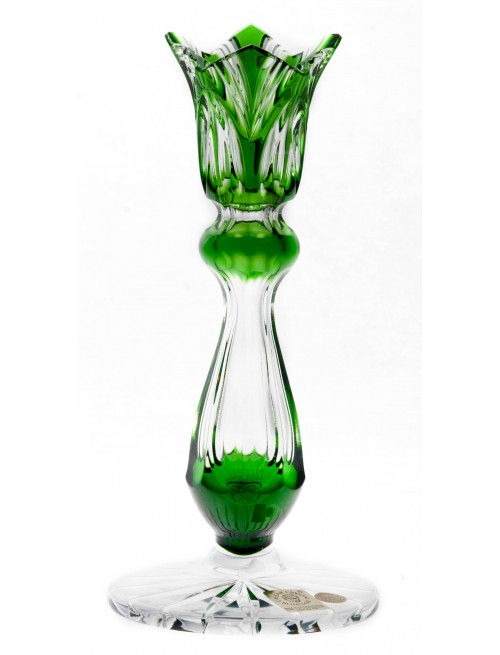 Lótusz kristály gyertyatartó, zöld színű, magassága 175 mm