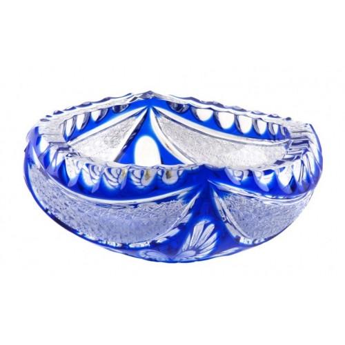 Ingrid kristály hamutál, kék színű, átmérője 155 mm