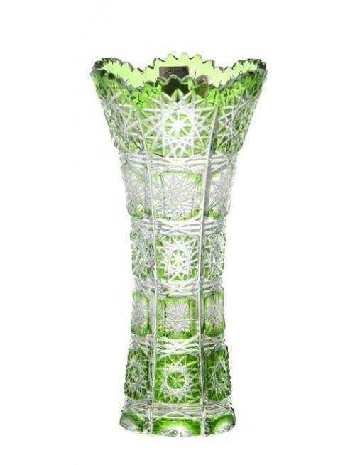 Paula I kristályváza, zöld színű, magassága 180 mm