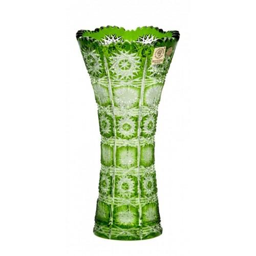 Paula kristályváza, zöld színű, magassága 200 mm