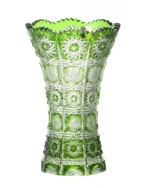 Paula II kristályváza, zöld színű, magassága 180 mm