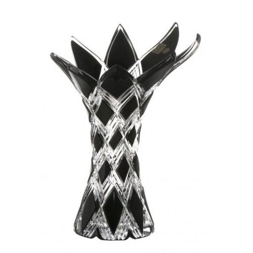Harlequin kristályváza, fekete színű, magassága 270 mm