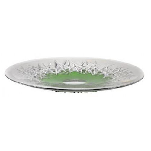 Hoarfrost kristálytányér, zöld színű, átmérője 300 mm