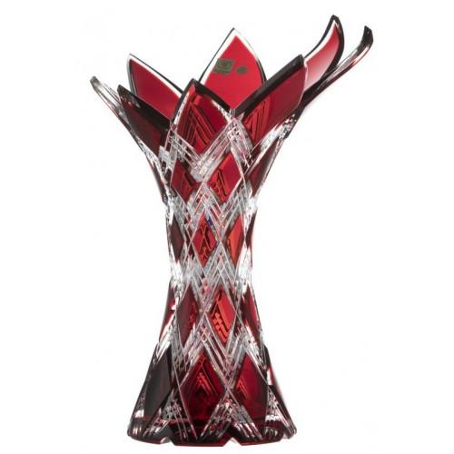 Harlequin kristályváza, rubinvörös színű, magassága 270 mm