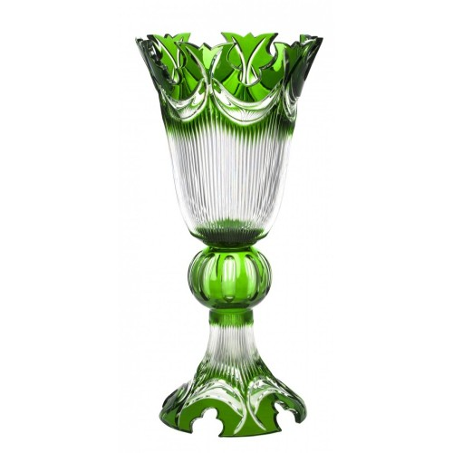Diadém kristályváza, zöld színű, magassága 505 mm