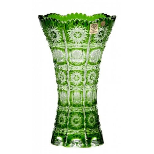 Paula III kristályváza, zöld színű, magassága 205 mm