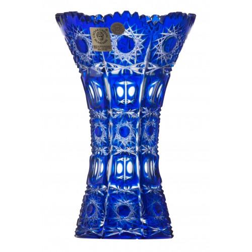 Petra kristályváza, kék színű, magassága 155 mm
