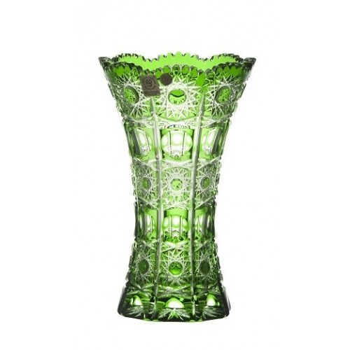 Petra kristályváza, zöld színű, magassága 205 mm