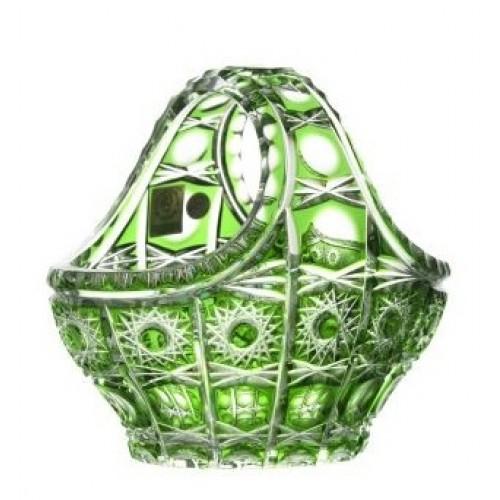 Petra kristálykosár, zöld színű, átmérője 150 mm