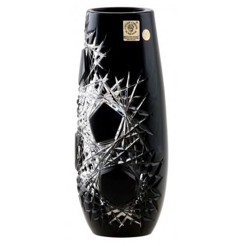 Frost kristályváza, fekete színű, magassága 205 mm