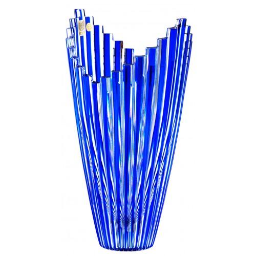 Mikado kristályváza, kék színű, magassága 270 mm