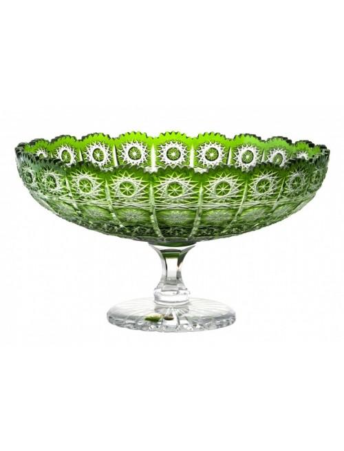 Paula kristály dísztál, zöld színű, átmérője 305 mm