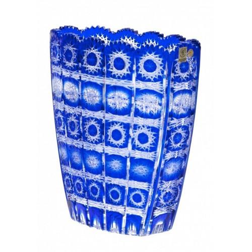 Paula kristályváza, kék színű, magassága 230 mm