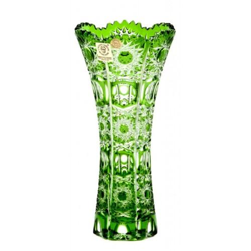 Petra II kristályváza, zöld színű, magassága 180 mm