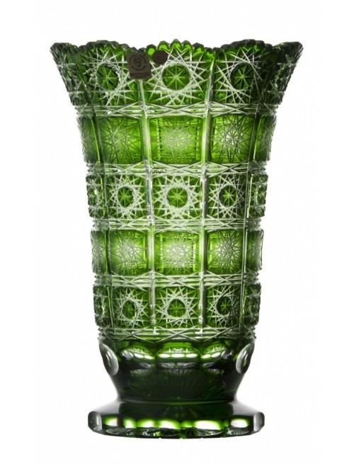 Paula kristályváza, zöld színű, magassága 255 mm