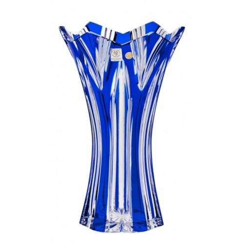 Lótusz II kristályváza, kék színű, magassága 255 mm