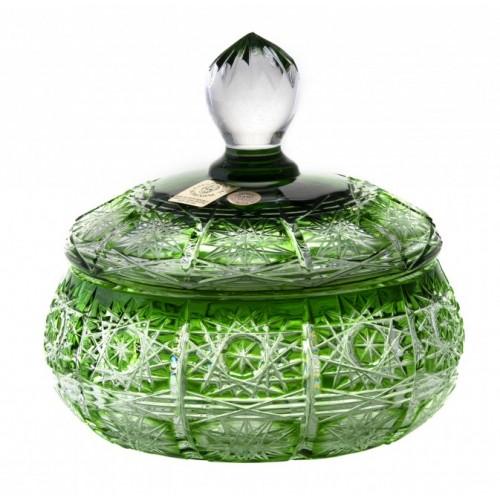 Paula kristályurna, zöld színű, magassága 128 mm