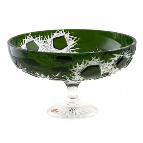Frost kristály dísztál, zöld színű, átmérője 330 mm