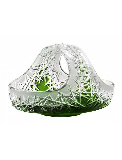 Hoarfrost kristálykosár, zöld színű, átmérője 230 mm