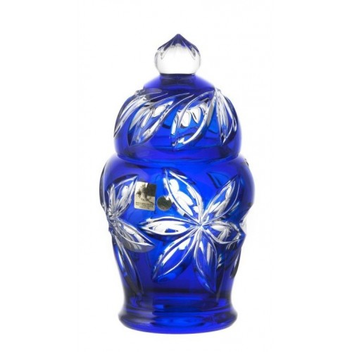 Linda kristályurna, kék színű, magassága 200 mm
