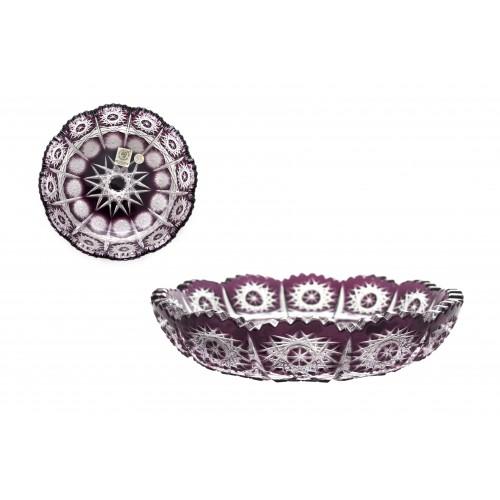 Paula kristálytányér, lila színű, átmérője 146 mm