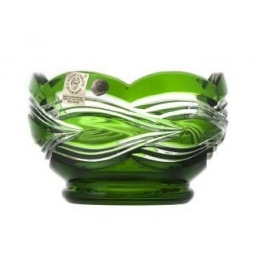 Sgrafito kristálytálka, zöld színű, átmérője 110 mm